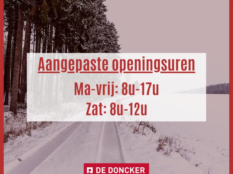 Aangepaste openingsuren door de winterse temperaturen